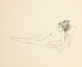 Pin-up and Glamour Art, FRITZ WILLIS (American, 1907-1979). Reclining Nude. Pencilon tracing paper. 10.75 x 14 in.. Not signed. From the Co...