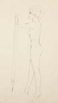 Pin-up and Glamour Art, FRITZ WILLIS (American, 1907-1979). Nude with pencil. Pencilon tracing paper. 14.25 x 8.5 in.. Not signed. From the...