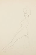 Pin-up and Glamour Art, FRITZ WILLIS (American, 1907-1979). Nude Model. Pencil ontracing paper. 16 x 10.75 in.. Not signed. From theCollec...