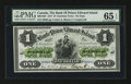 Canadian Currency: , Charlotte Town, PEI- The Bank of Prince Edward Island $1 Jan. 1,1877. ...