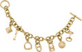 Luxury Accessories:Accessories, Hermes Extremely Rare 18K Gold Signature Charm Bracelet. ...