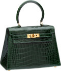 Luxury Accessories:Bags, Hermes 20cm Shiny Vert Foret Alligator Mini Kelly with GoldHardware. ...