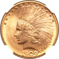 Indian Eagles, 1909-D $10 MS64 NGC. CAC....