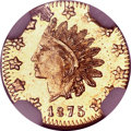 California Fractional Gold, 1875 50C Indian Round 50 Cents, BG-1036, Low R.8, MS63 ProoflikeNGC....