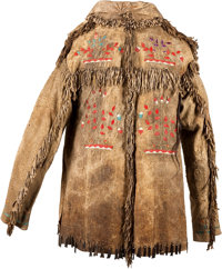 A SANTEE SIOUX QUILLED AND FRINGED HIDE JACKET c. 1880