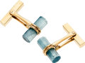 Estate Jewelry:Cufflinks, Aquamarine, Gold Cuff Links, Tiffany & Co.. ...