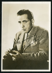 "Humphrey Bogart Lot (Various, 1940-1950s). Fan Photo (5"" X 7""), Program (5.5"" X 8.5""), and an Autogr..."