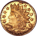 California Fractional Gold, 1878/6 25C Indian Round 25 Cents, BG-883, High R.4, MS66 ProoflikeNGC....