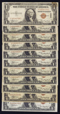 Small Size:World War II Emergency Notes, Fr. 2300 $1 1935A Hawaii Silver Certificates. Eleven Examples. Fine or Better.. ... (Total: 11 notes)