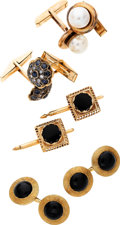 Estate Jewelry:Lots, Cultured Pearl, Sapphire, Diamond, Black Onyx, Gold Cuff Links. ... (Total: 4 Items)