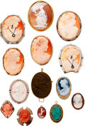 Estate Jewelry:Lots, Shell, Hardstone, Coral, Turquoise, Lava, Diamond, Enamel Cameo Lot. ... (Total: 14 Items)