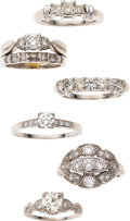 Estate Jewelry:Lots, Diamond, Platinum Rings. ... (Total: 6 Items)