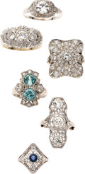 Estate Jewelry:Suites, Diamond, Blue Zircon, Platinum, Palladium, White Gold Rings . ...(Total: 6 Items)