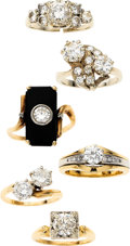 Estate Jewelry:Lots, Diamond, Black Onyx, Platinum, Gold Rings. ... (Total: 6 Items)