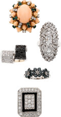 Estate Jewelry:Lots, Diamond, Colored Diamond, Onyx, Coral, Emerald, Gold Rings. ... (Total: 6 Items)