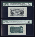 Fractional Currency:Third Issue, Fr. 1272SP 15¢ Third Issue Wide Margin Pair. PMG Choice Uncirculated 64 and Choice Uncirculated 63.. ... (Total: 2 notes)