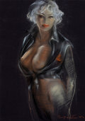 Pin-up and Glamour Art, TEMPLETON (American , 20th Century). High Collar, 1990.Pastel on board. 27 x 19.5 in.. Signed lower right. Fromthe...