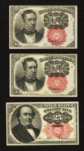Fractional Currency:Fifth Issue, Three Different Fifth Issue Notes.. ... (Total: 3 notes)