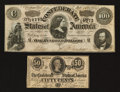 Confederate Notes:Group Lots, T65 $100 1864 & T72 50¢ 1864.. ... (Total: 2 notes)