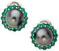 Estate Jewelry:Earrings, Black South Sea Cultured Pearl, Tsavorite, Gold Earrings, Craig Drake. ... (Total: 2 Items)