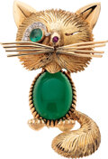 Estate Jewelry:Brooches - Pins, Diamond, Emerald, Ruby, Chrysoprase, Gold Clip-Brooch, Van Cleef & Arpels, French. ...