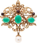 Estate Jewelry:Brooches - Pins, Cultured Pearl, Diamond, Chrysoprase, Garnet, Gold Pendant-Brooch....