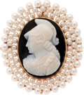 Estate Jewelry:Cameos, Hardstone Cameo, Seed Pearl, Gold Pendant-Brooch. ...