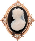 Estate Jewelry:Cameos, Victorian Hardstone Cameo, Cultured Pearl, Gold Pendant-Brooch. ...