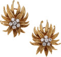 Estate Jewelry:Earrings, Diamond, Gold Earrings, circa 1960. ... (Total: 2 Items)