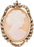 Estate Jewelry:Pendants and Lockets, Shell Cameo, Diamond, Gold Pendant. ...