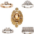 Estate Jewelry:Rings, Diamond, Citrine, Moissanite, Gold Rings. ... (Total: 5 Items)