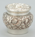 Silver Holloware, American:Boxes, AN AMERICAN SILVER FLORAL REPOUSSÉ JAR . Maker unidentified,American, circa 1890. Marks: STERLING, 200, (effacedmaker'...