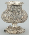 Silver Holloware, American:Vases, A CHINESE EXPORT SILVER FLORAL REPOUSSÉ VASE . Maker unidentified,Shanghai, China, circa 1890. Marks: C.J. (shop mark)...