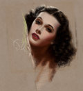 Mainstream Illustration, GEORGE QUINTANA (American, 20th Century). Hedy Lamarr.Pastel on board. 11 x 9.75 in.. Signed center left. From the...