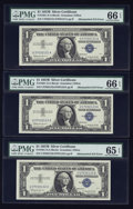 Error Notes:Mismatched Serial Numbers, Fr. 1621 $1 1957B Silver Certificates. Three Consecutive Examples. PMG Gem Uncirculated 66 EPQ (2) & PMG Gem Uncirculated 65 E... (Total: 3 notes)