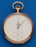 Timepieces:Pocket (post 1900), Longines 12 Size, 14k Gold Fancy Dial Pocket Watch. ...