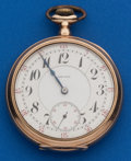Timepieces:Pocket (post 1900), Gruen 16 Size, 14k Gold, 21 Jewel Bridge Movement. ...