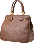 Luxury Accessories:Bags, Giorgio's of Palm Beach Large Brown Ostrich Tote, Retail$7,000. ...