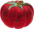 Luxury Accessories:Bags, Judith Leiber Rare Tomato Full Bead Minaudiere Evening Bag. ...
