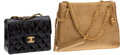 Luxury Accessories:Bags, Chanel Large Gold Paisley Brocade Bag & Chanel Black PatentLeather Mini Flap Bag. ... (Total: 2 Items)