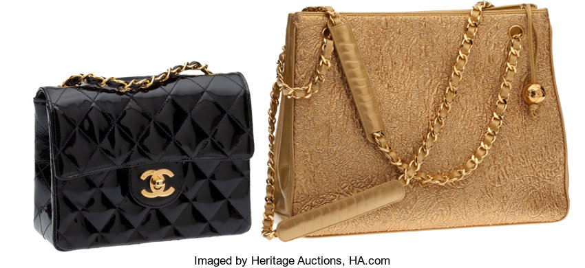 e20a21313930 ... Luxury Accessories:Bags, Chanel Large Gold Paisley Brocade Bag & Chanel  Black PatentLeather ...
