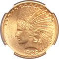 Indian Eagles, 1908-S $10 MS62 NGC....