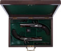 Military & Patriotic:Revolutionary War, Cased Pair of Late 18th Century British Dbl Bbl F/L Pistols.... (Total: 2 Items)
