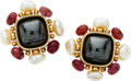 Estate Jewelry:Earrings, Hematite, Freshwater Pearls, Ruby, Gold Earrings. ... (Total: 2Items)