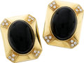 Estate Jewelry:Earrings, Black Onyx, Diamond, Gold Earrings. ... (Total: 2 Items)