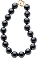 Estate Jewelry:Necklaces, Hematite, Gold Necklace, Paloma Picasso for Tiffany & Co.. ...