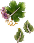 Estate Jewelry:Suites, Jade, Diamond, Amethyst, Gold Suite. ... (Total: 3 Items)