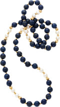 Estate Jewelry:Necklaces, Lapis Lazuli, Cultured Pearl, Gold Bead Necklace. ...