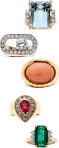 Estate Jewelry:Lots, Multi-Stone, Diamond, Gold Rings. ... (Total: 5 Items)