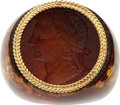 Estate Jewelry:Rings, Carved Amber Intaglio, Gold Ring. ...